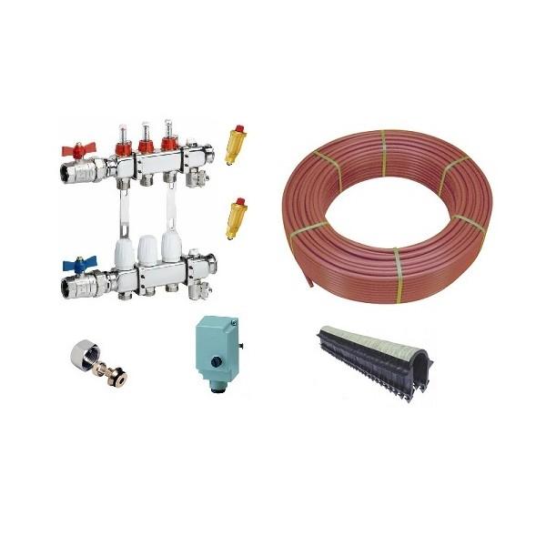 Kit plancher chauffant hydraulique, tube PER , Tube BAO Collecteur Inox